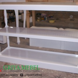 Meja Gallery Tingkat Duco Putih