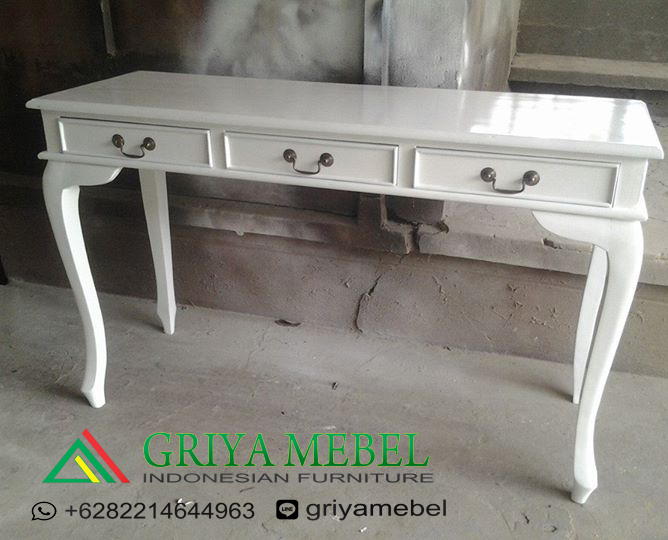Meja Konsol 3 Laci Putih, meja konsul klasik, meja konsul murah, meja console murah, meja console duco,Meja Konsul 3 Laci Garengan Putih,Meja Konsul 3 Laci, desain meja tamu resepsi, harga meja resepsi, ukuran meja rsepsi, ukuran meja tamu, model meja tamu terbaru, model meja tamu resepsi, meja tamu minimalis, Meja Display, Meja Gallery, Meja resepsi, Meja catering, meja makanan, meja minuman, meja dekorasi, meja wedding, furniture décor, furniture decorasi jepara, furniture dekor jepara, mebel dekor jepara, mebel jepara, furniture jepara, meubel indonesia