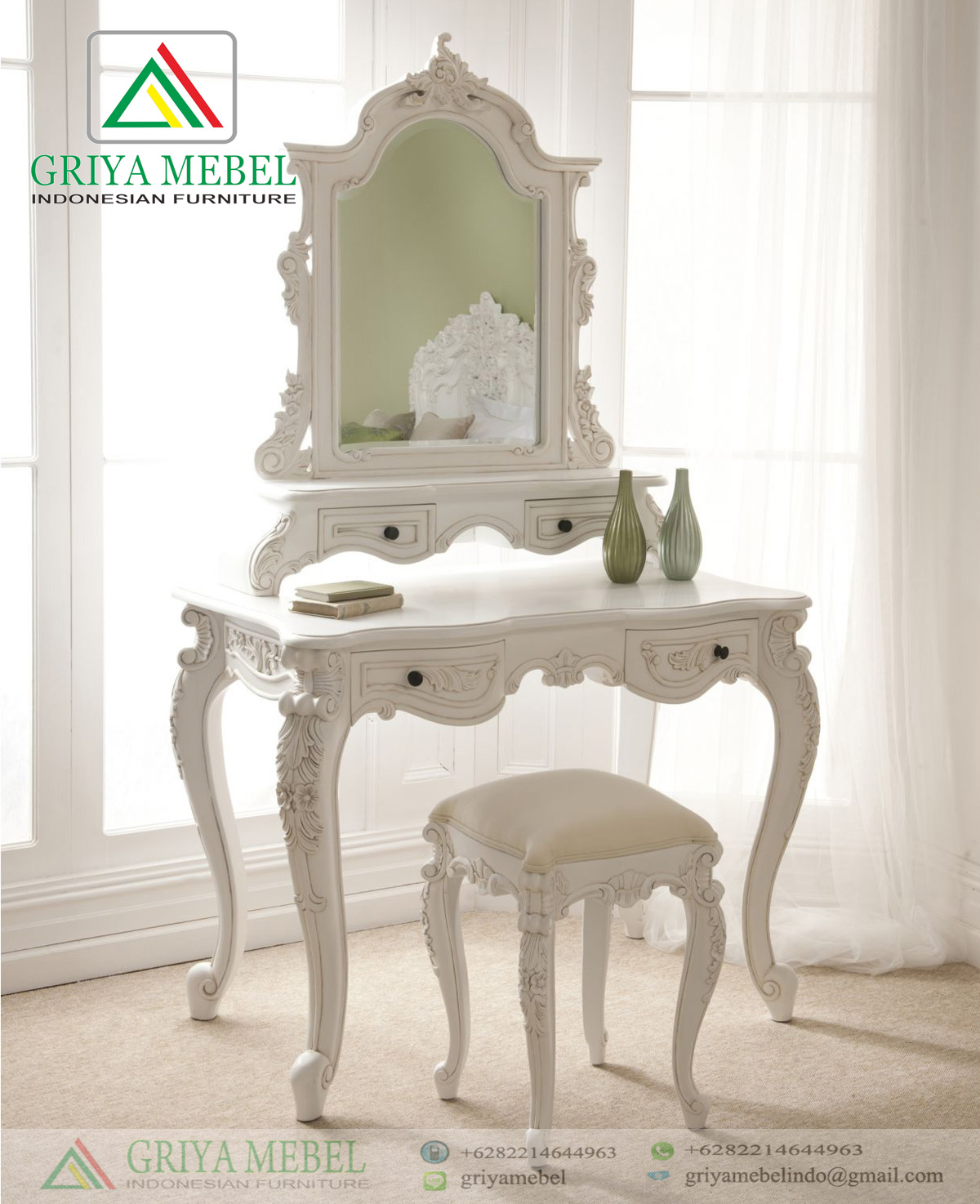 Meja Rias French Rococo Putih Doff Griya Mebel