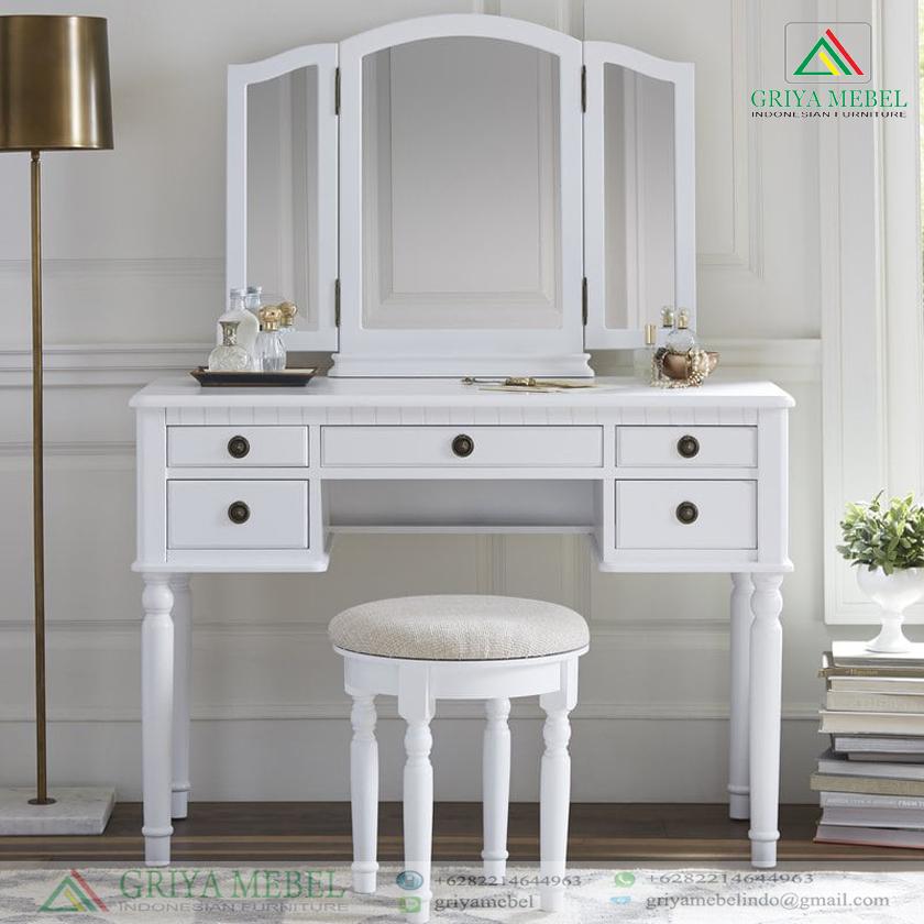 Meja Rias Kupu Kupu Minimalis Putih Griya Mebel