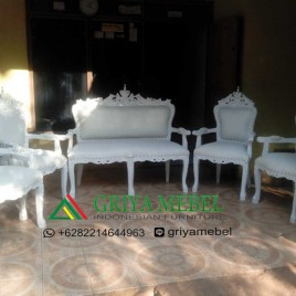Set Kursi Wedding Ukir Bunga Duco Putih
