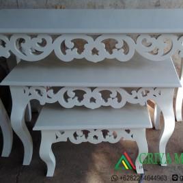 meja susun 3 ukir duco putih