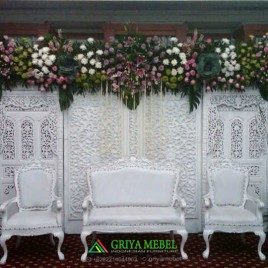 Set Sofa Wedding Ukir Duco Putih