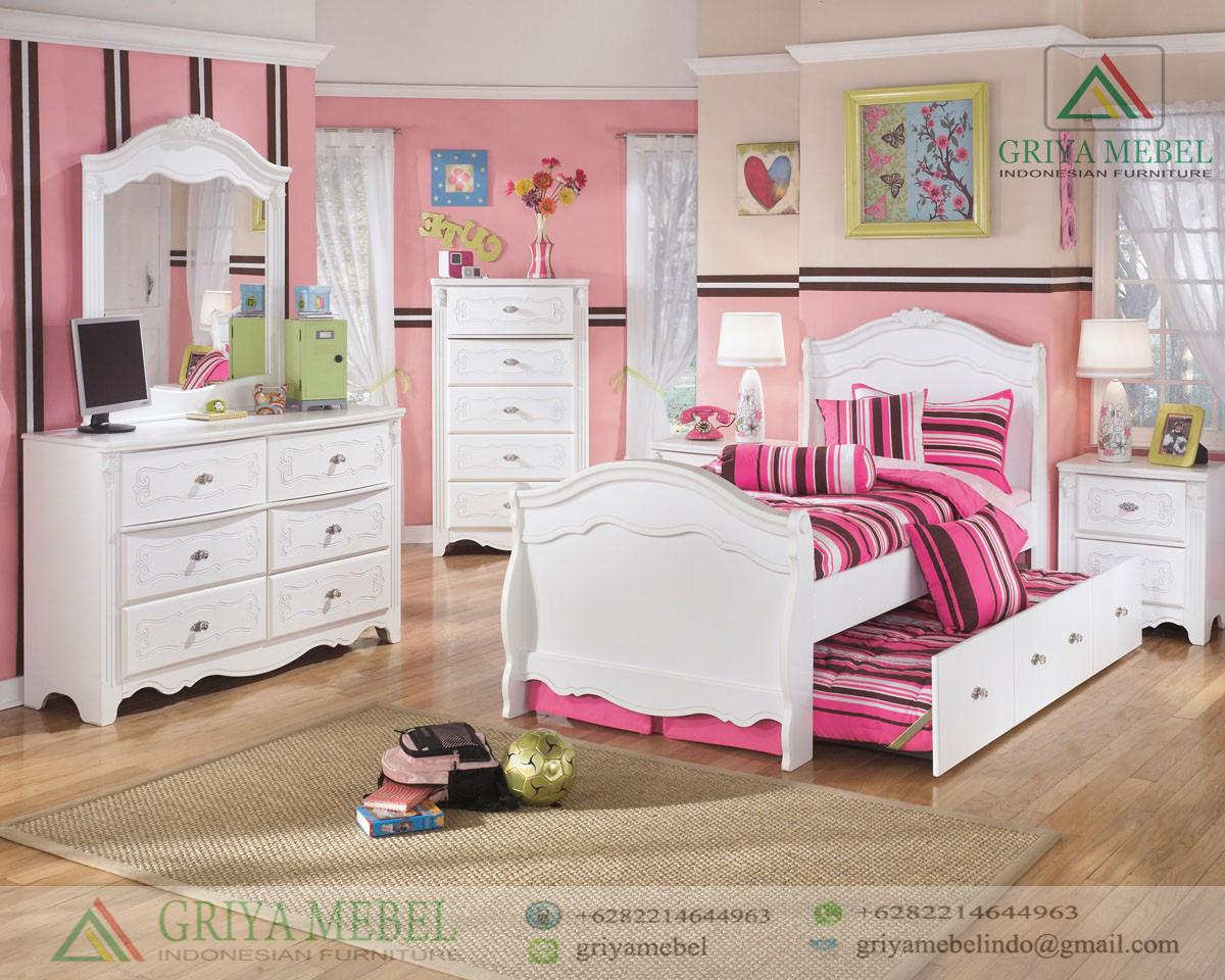 Set Kamar Anak Perempuan Putih Griya Mebel