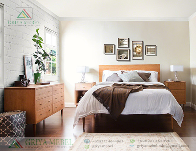 Bedroom Set Retro Jati, Set Ruang Tidur Mid Century Jati, Set KamaSet Tempat Tidur Retro Minimalis, r tidur Scandinavian Retro