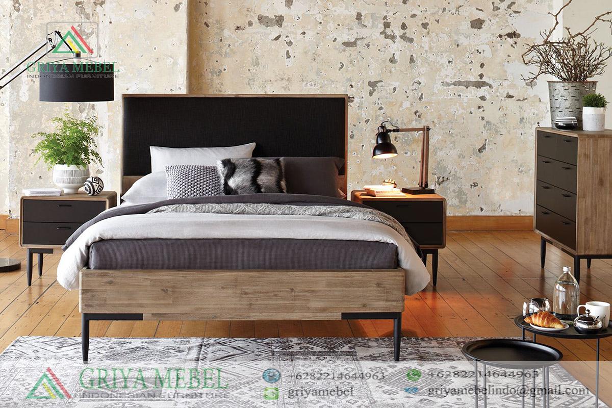 Set Kamar Tidur Besi Retro, Set Ruang Tidur Mid Century Jati, Set KamaSet Tempat Tidur Retro Minimalis, r tidur Scandinavian Retro