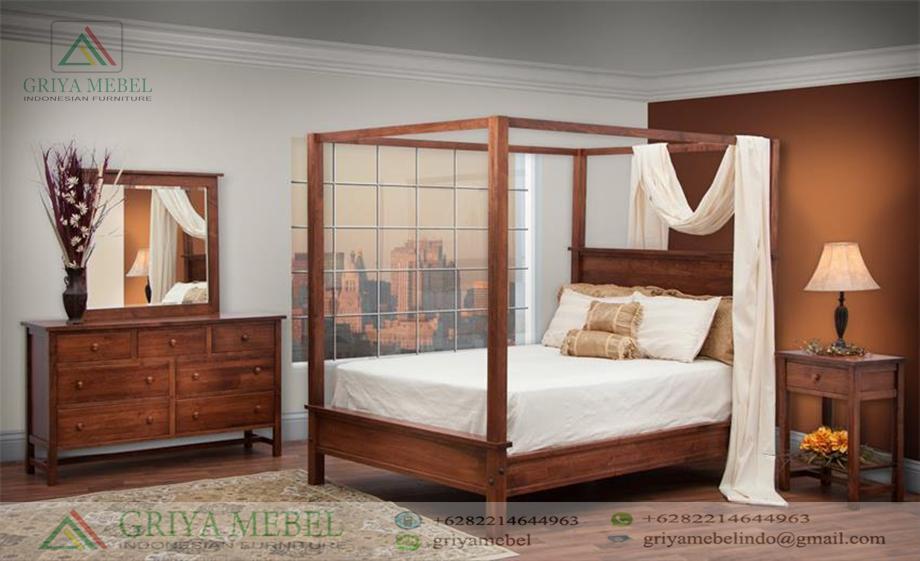 Set Tempat Tidur Model Canopi Jati