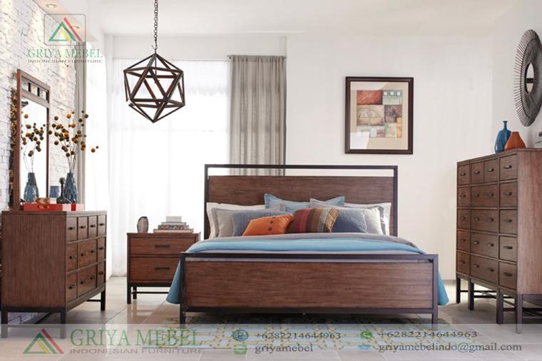 Set Ruang Tidur Mid Century Jati, Set KamaSet Tempat Tidur Retro Minimalis, r tidur Scandinavian Retro, Set Tempat Tidur Retro KOmbinasi Besi