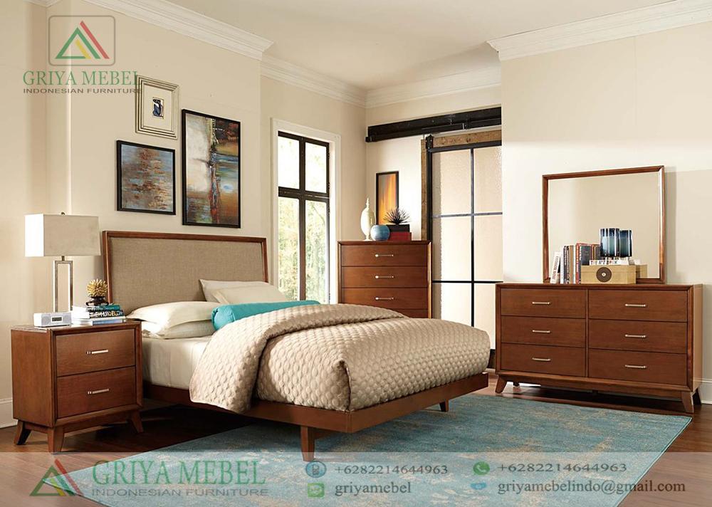 Set Ruang Tidur Mid Century Jati, Set KamaSet Tempat Tidur Retro Minimalis, r tidur Scandinavian Retro